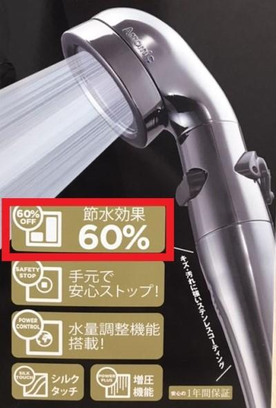シャワーヘッドの交換で節水60%